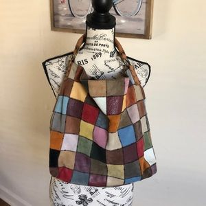 Lucky Brand Leather Patchwork Hobo Bag